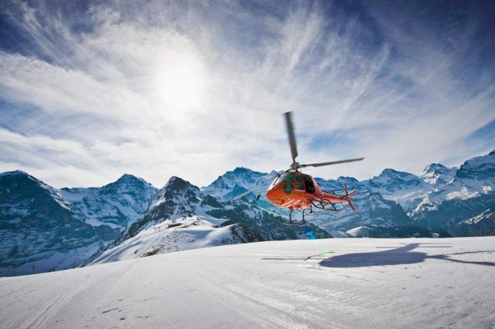 Helicopter landing at Männlichen