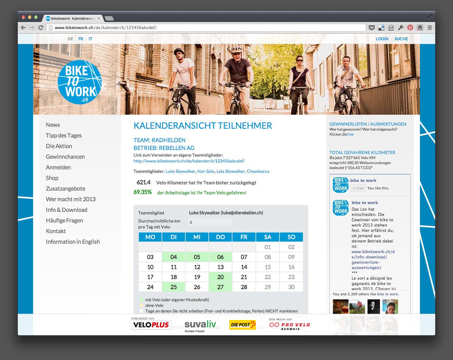 Bike To Work calendar view
