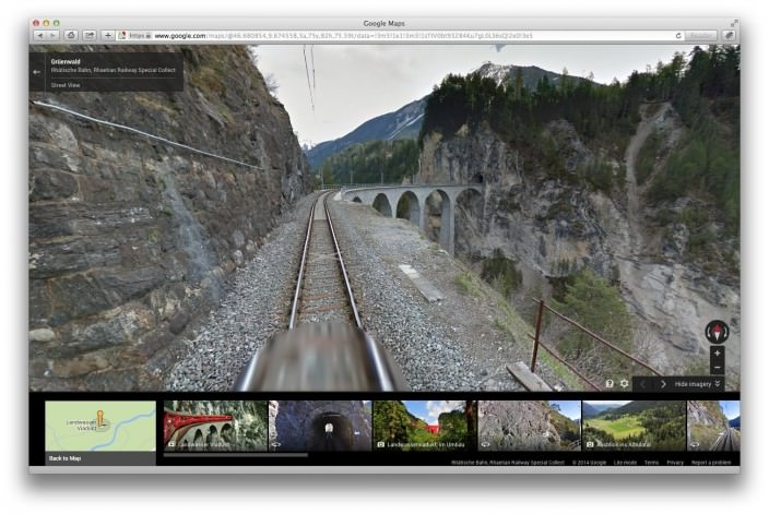 Landwasser Viaduct in Google Street View