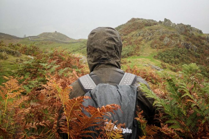 Photo of me in the rain and the ferns by Jo, on Loughrigg Fell