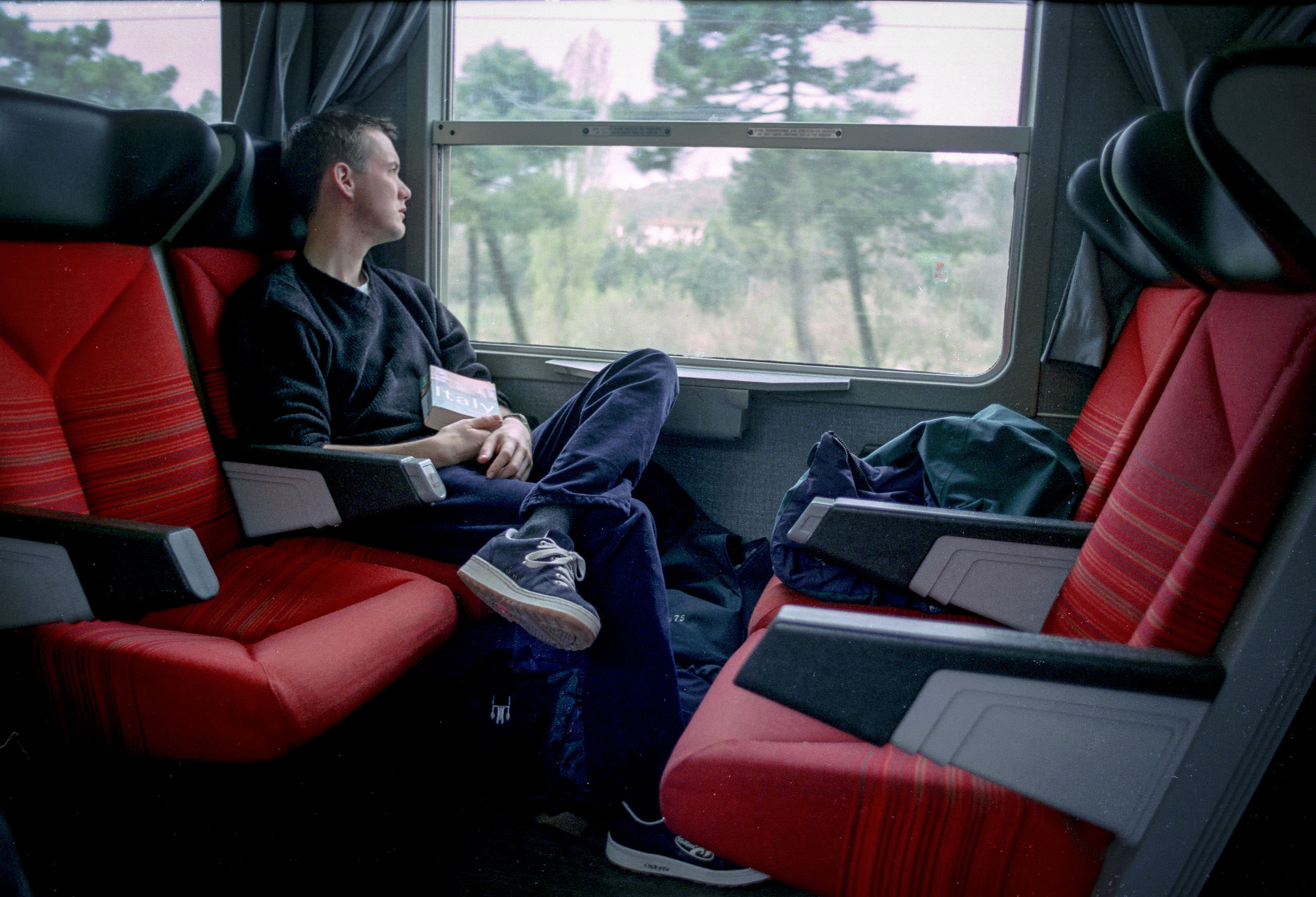 Me, on a train from Pisa to Florence in 1998