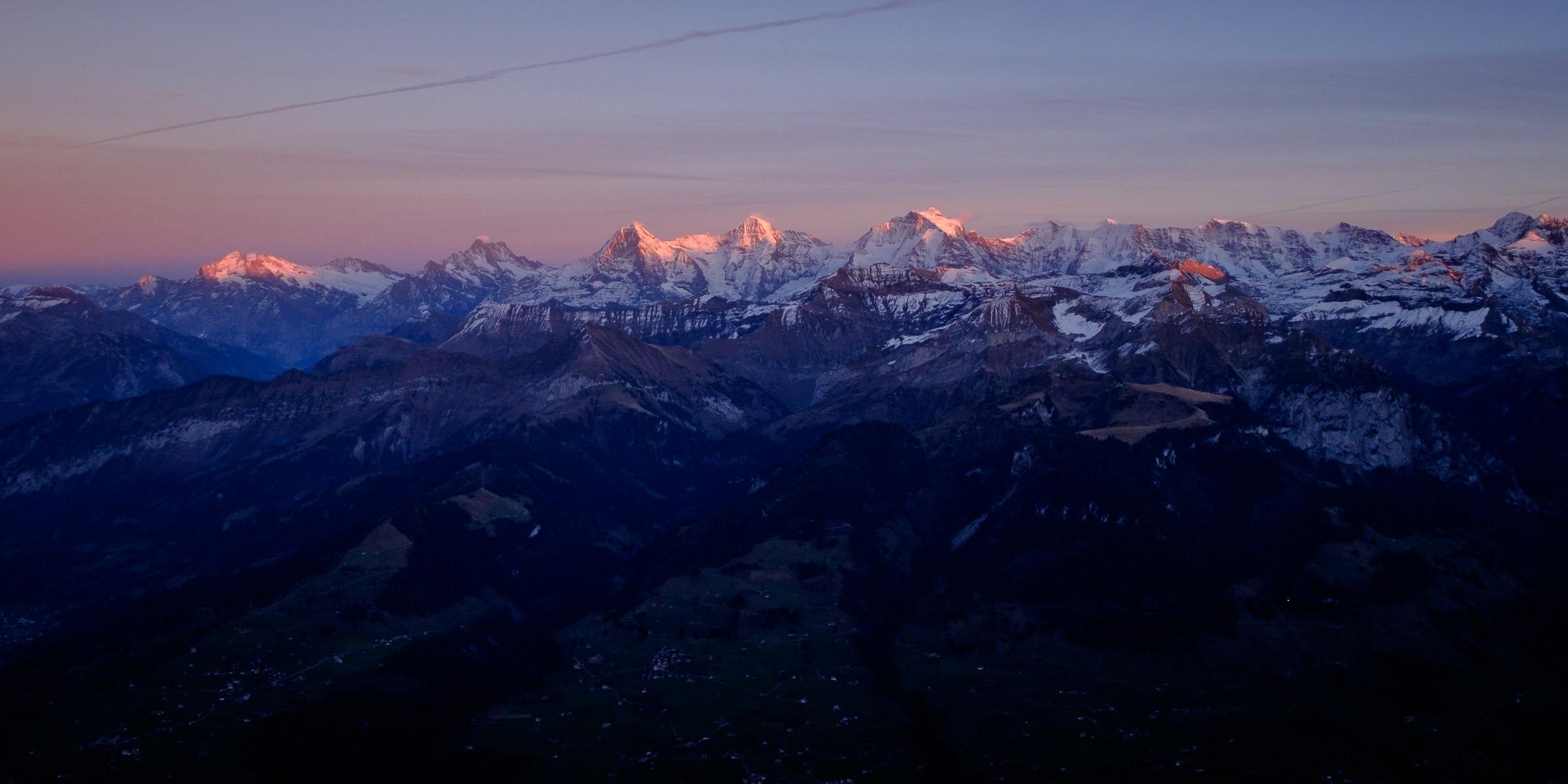 Eiger, Mönch and Jungfrau from Niesen Kulm, Switzerland