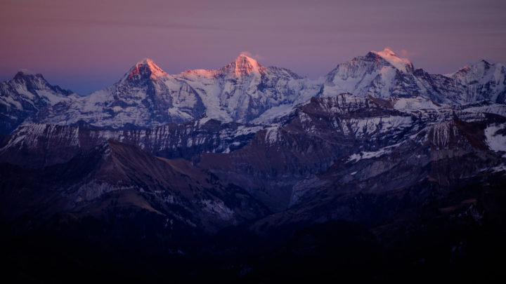 Evening light on the Eiger, Mönch and Jungfrau