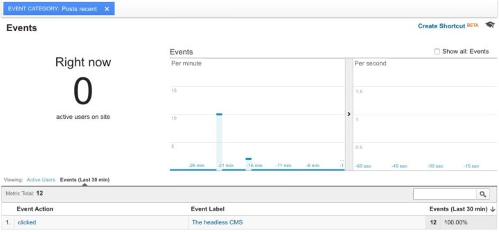 Screenshot - Google Analytics custom event