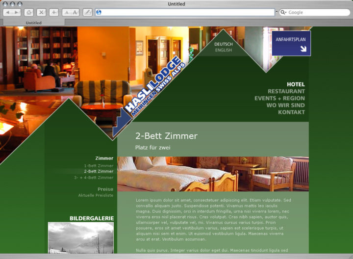 Web design Hasli Lodge, Meiringen