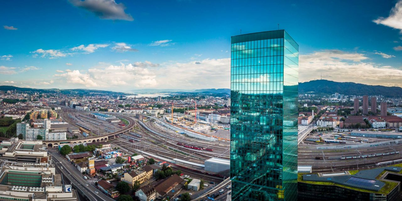 Aerial photo of Zurich's Prime Tower