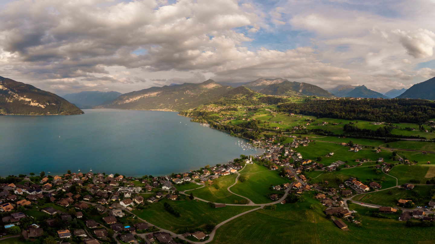 Aerial photograph of Faulensee and Lake Thun in Switzerland