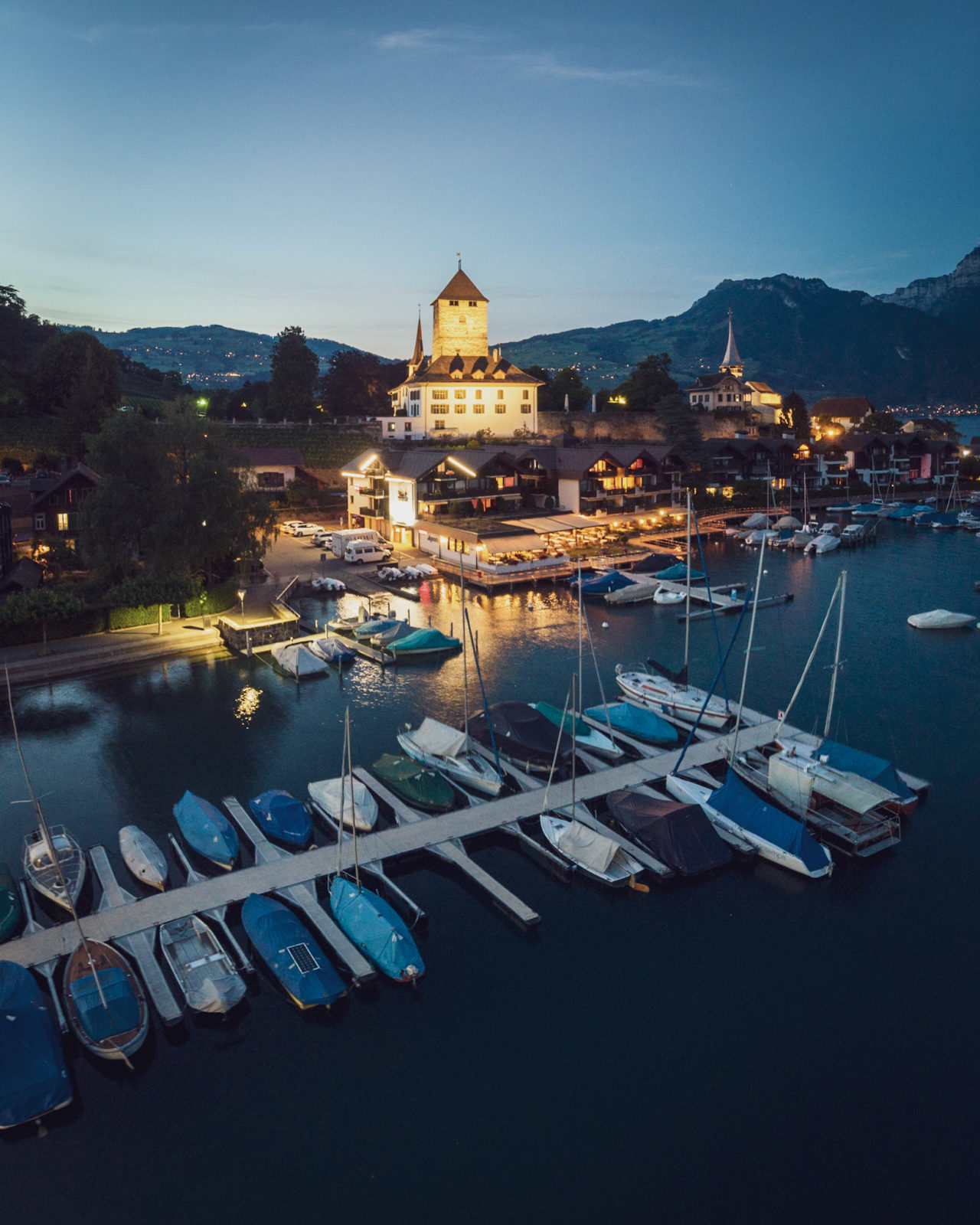 Spiez castle, photographed at dusk using a Mavic Air drone