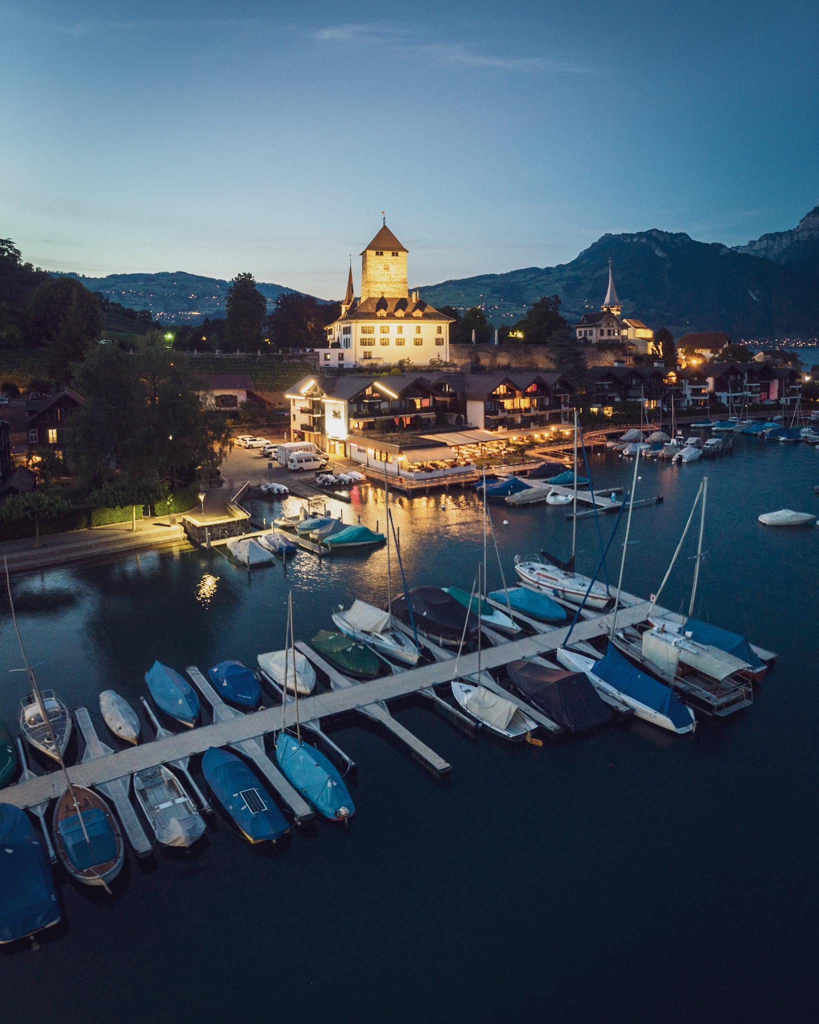 Spiez castle, photographed at dusk using a Mavic Air drone