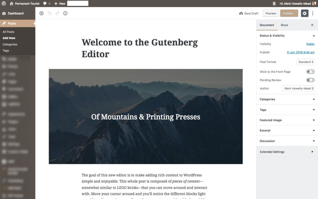 Screenshot of the new Gutenberg editor for WordPress