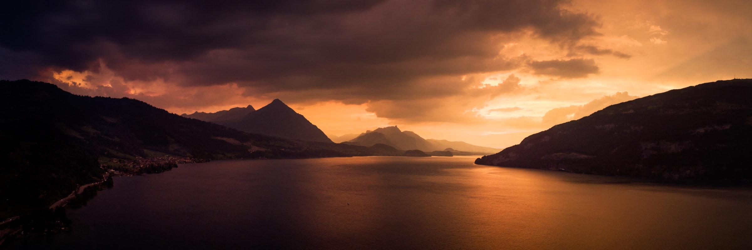 Sunset over Lake Thun in Switzerland