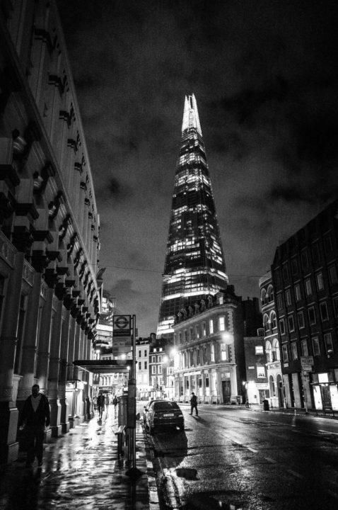 Night-time view of The Shard in London