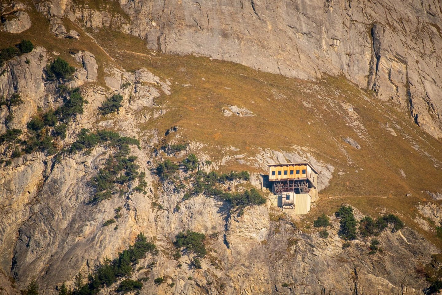 The old cable-car station on the Wetterhorn in Switzerland