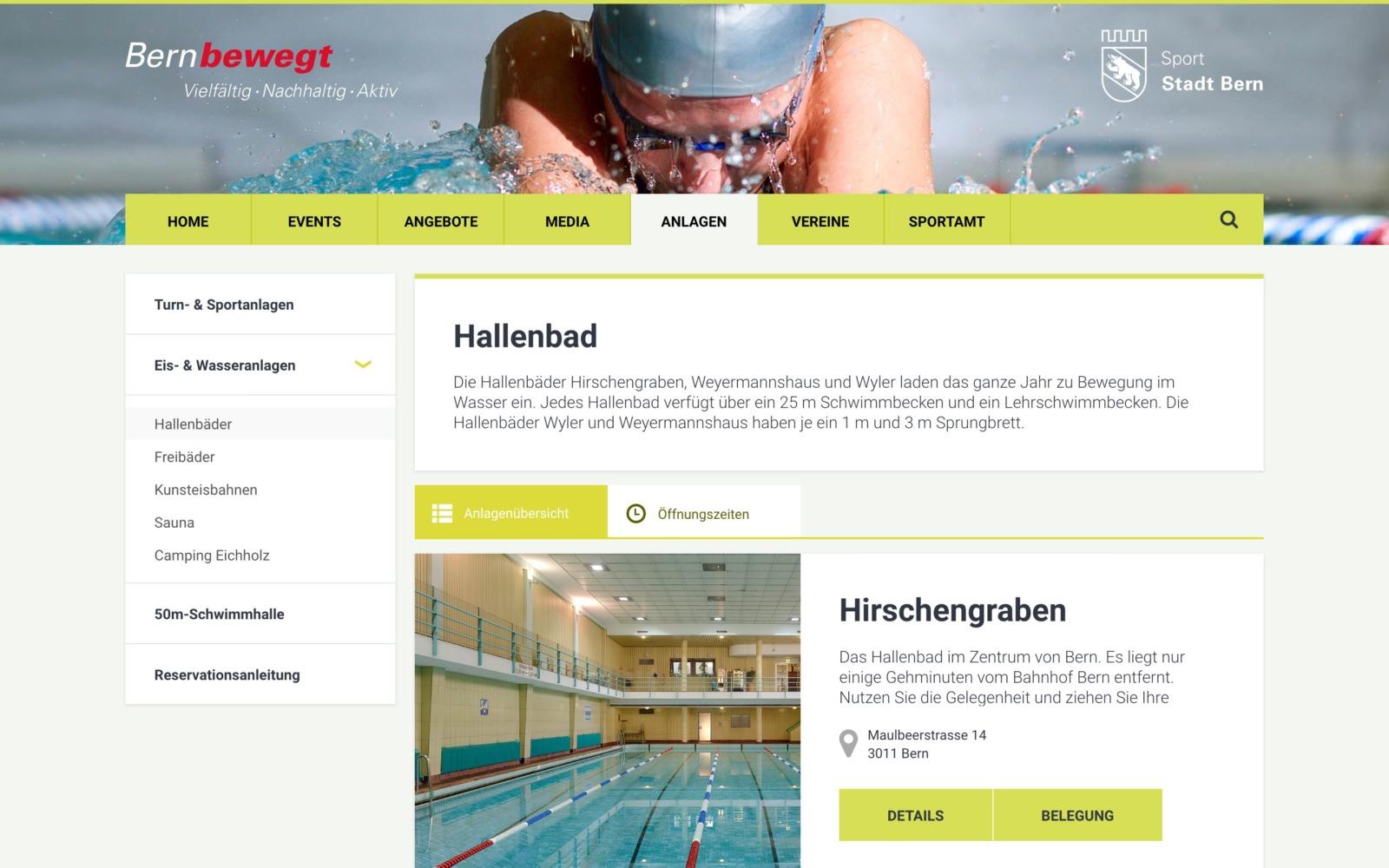 Screenshot of the Sportamt Bern website