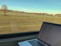 Remote working on a train in Switzerland