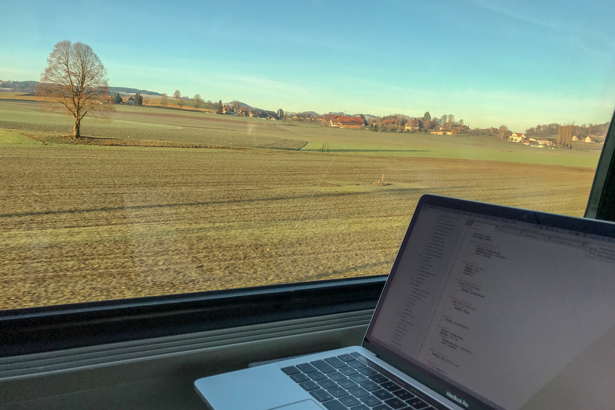 Remote working on a train in Switzerland
