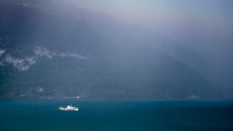 Blümlisalp paddle steamer in windy conditions on Lake Thun