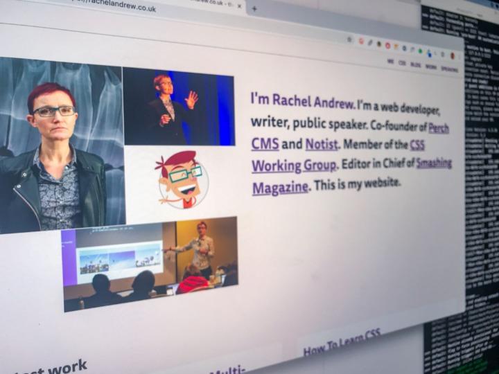 Scrrenshot of Rachel Andrew's website, built using CSS Grid