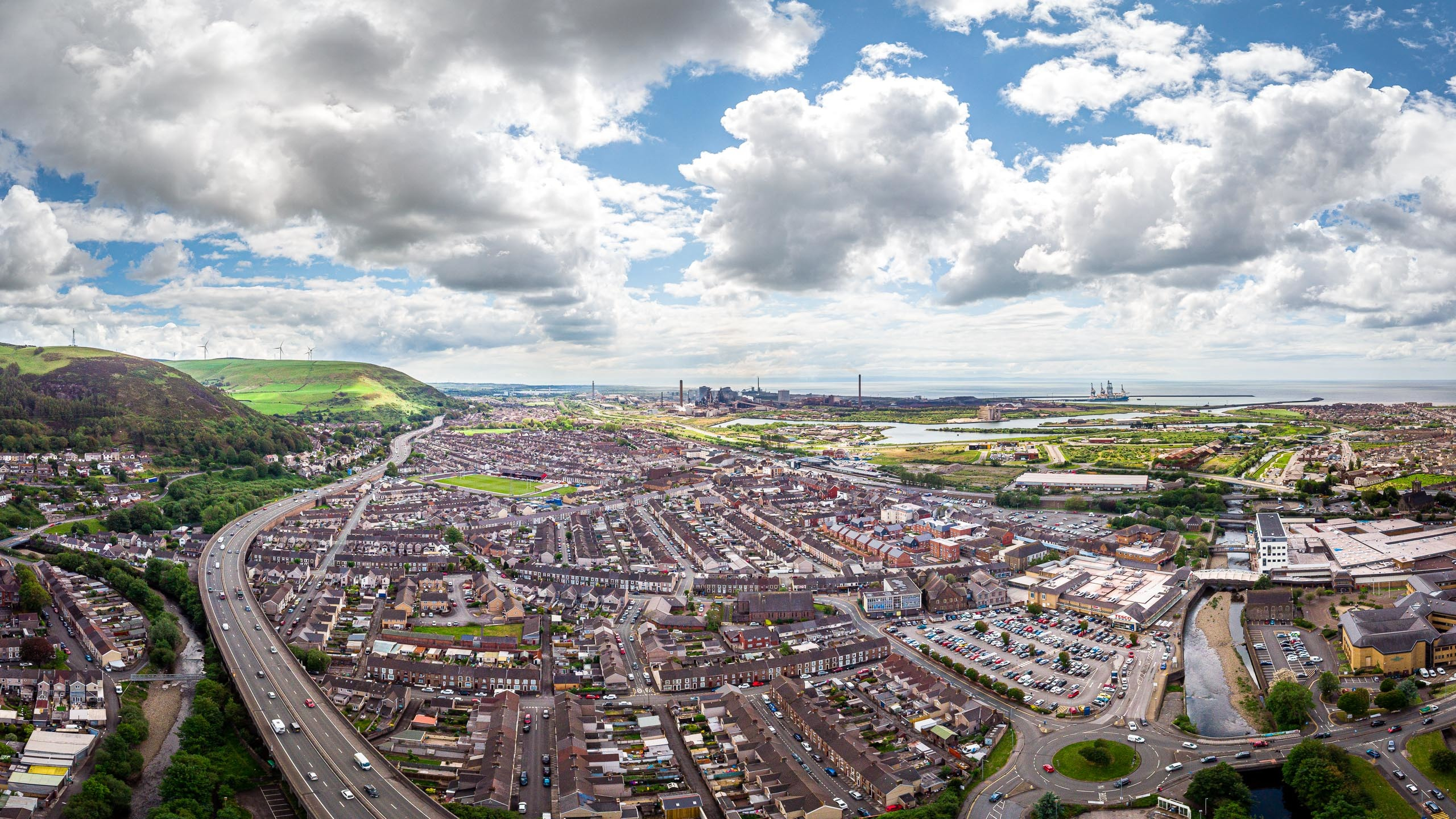 Aerial photograph of Port Talbot and the neighbouring steel works