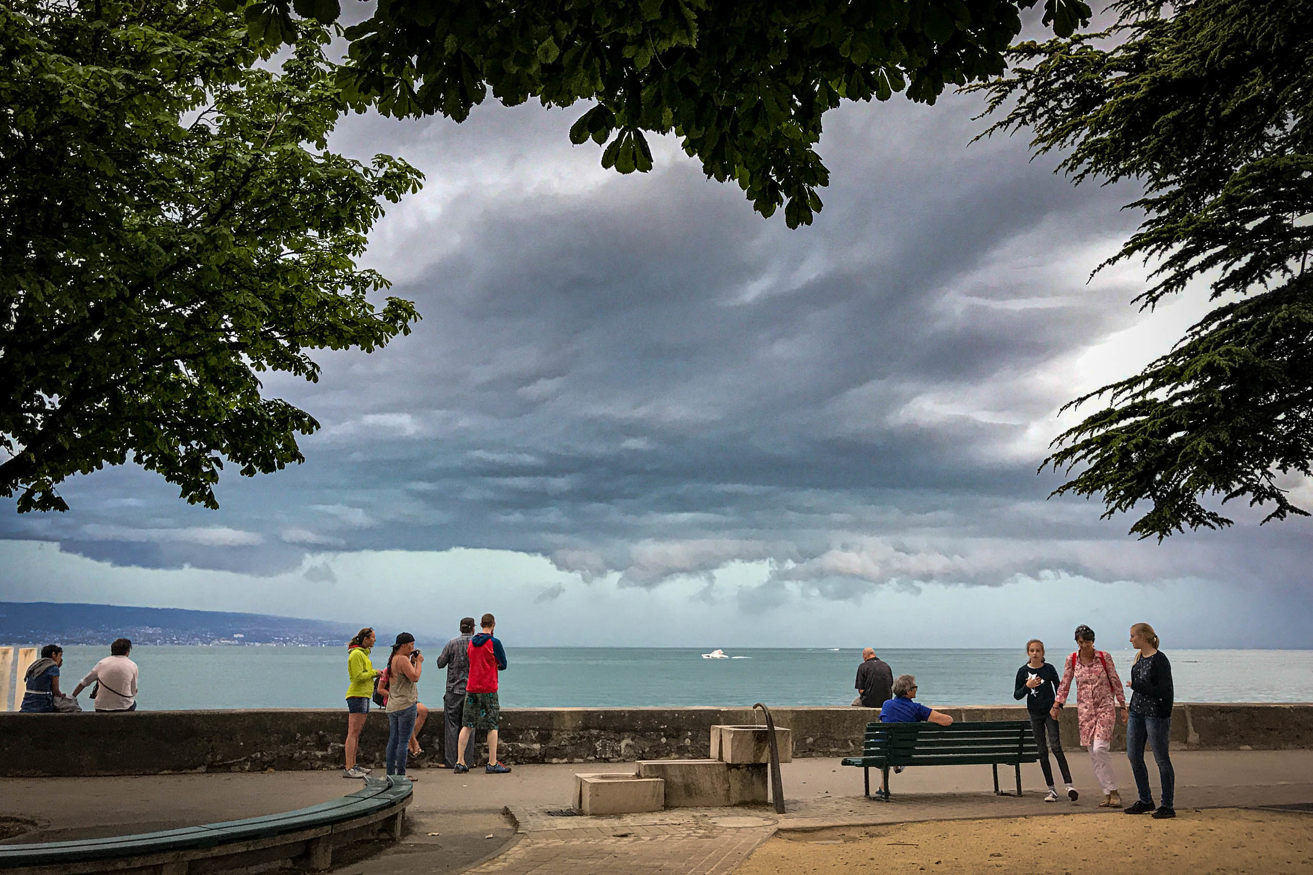 Storm clouds approaching Lutry on the shores of Lac Léman