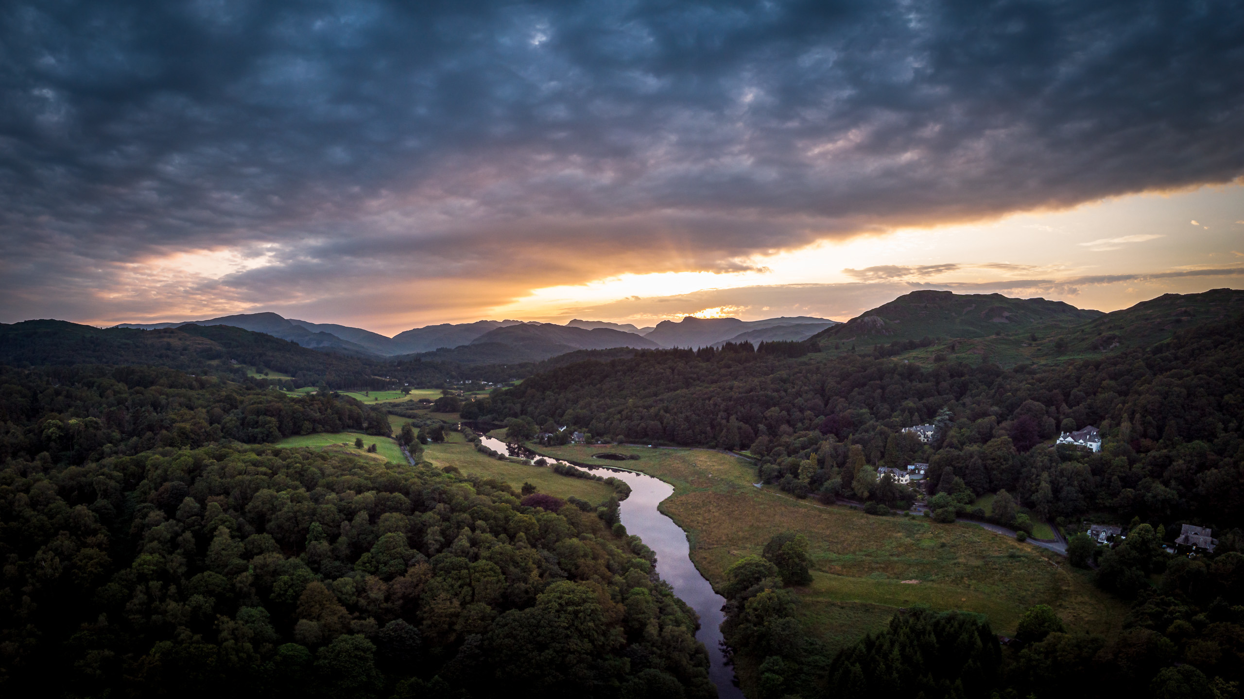 Aerial photo of sunset of the Langdale valley in Cumbria