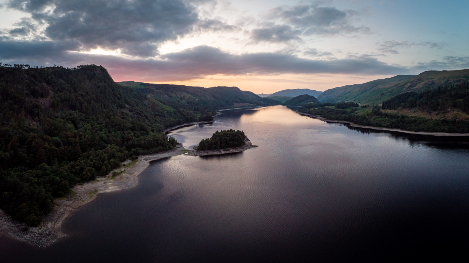 Aerial photograph of Thirlmere, in Cumbria, at sunset