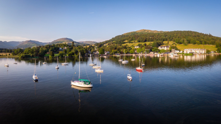 Sailing boats on Lake Windermere, Cumbria