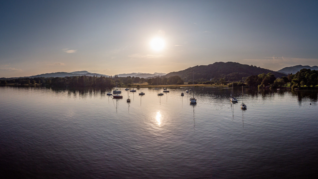 Aerial photograph of Windermere at Waterhead, Cumbria