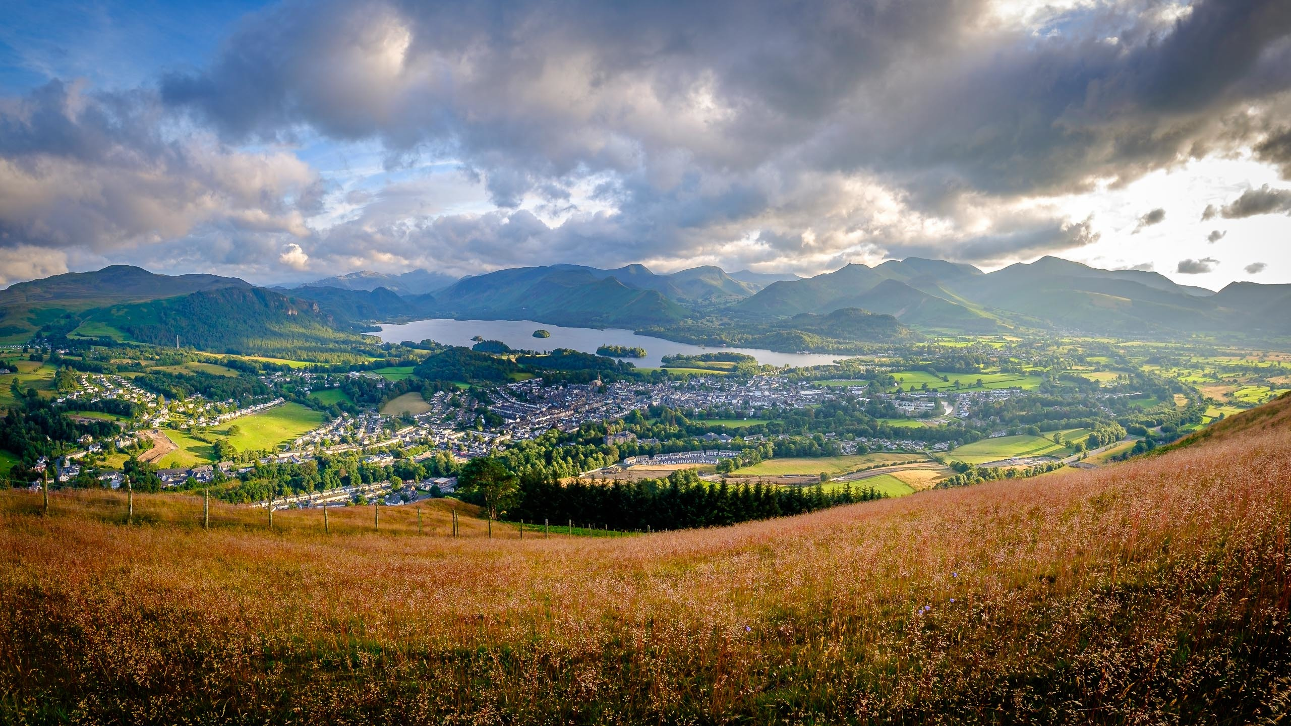 Late afternoon sun across Keswick and Derwentwater