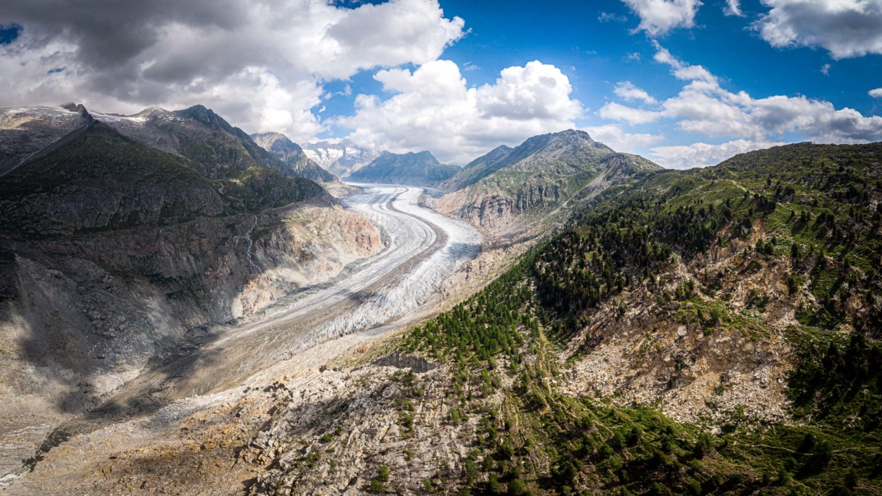 Aerial photograph of the Aletsch glacier in Swiss canton Valais