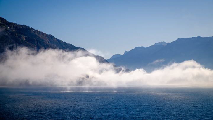 Steam rising from Lake Thun