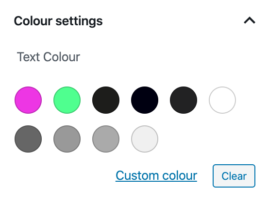 Screenshot of the Gutenberg colour picker