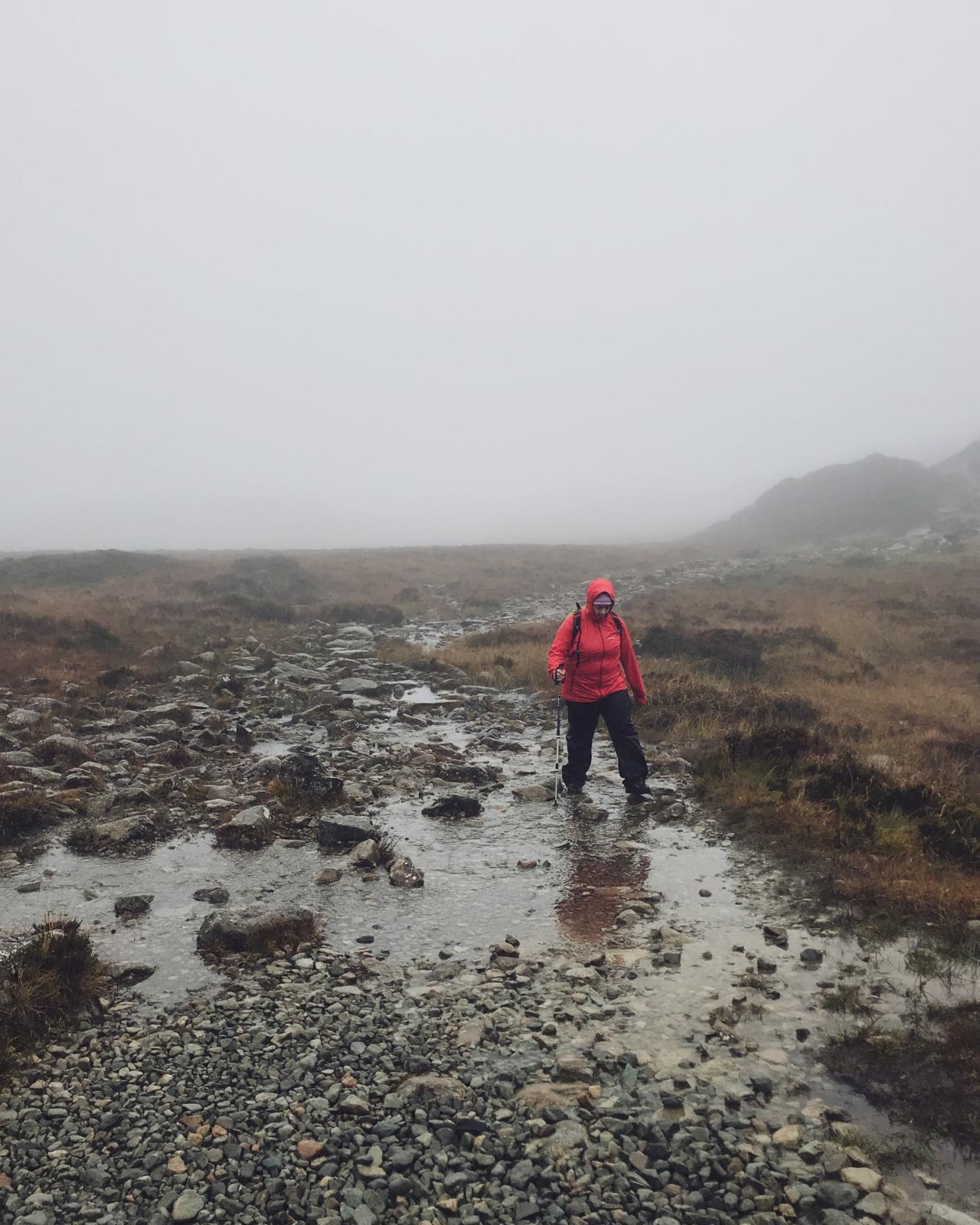 Wading across Green Crag