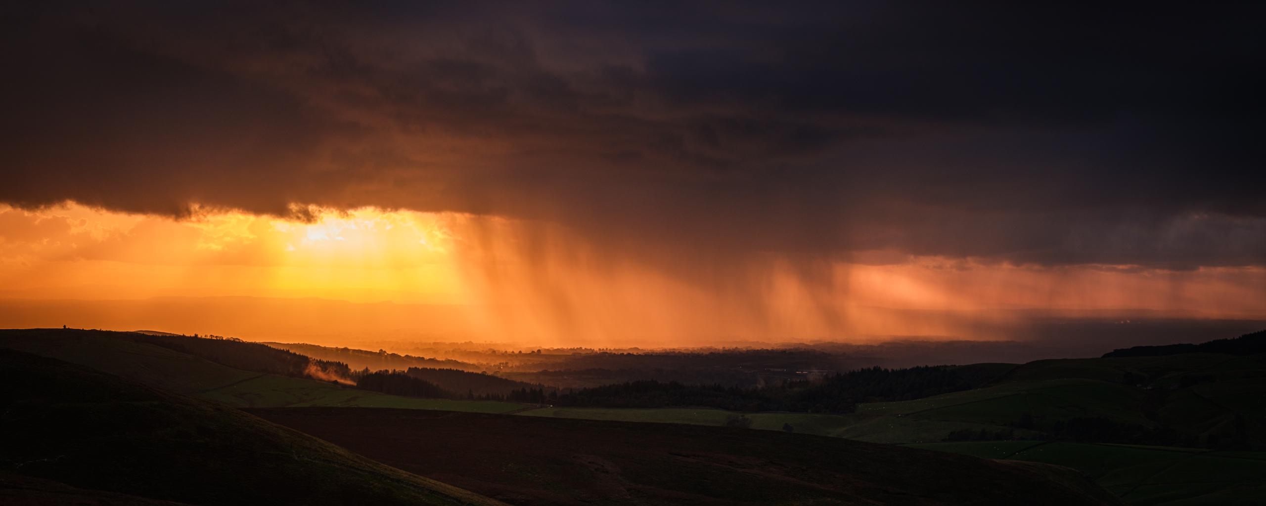 Rain storm over Macclesfield
