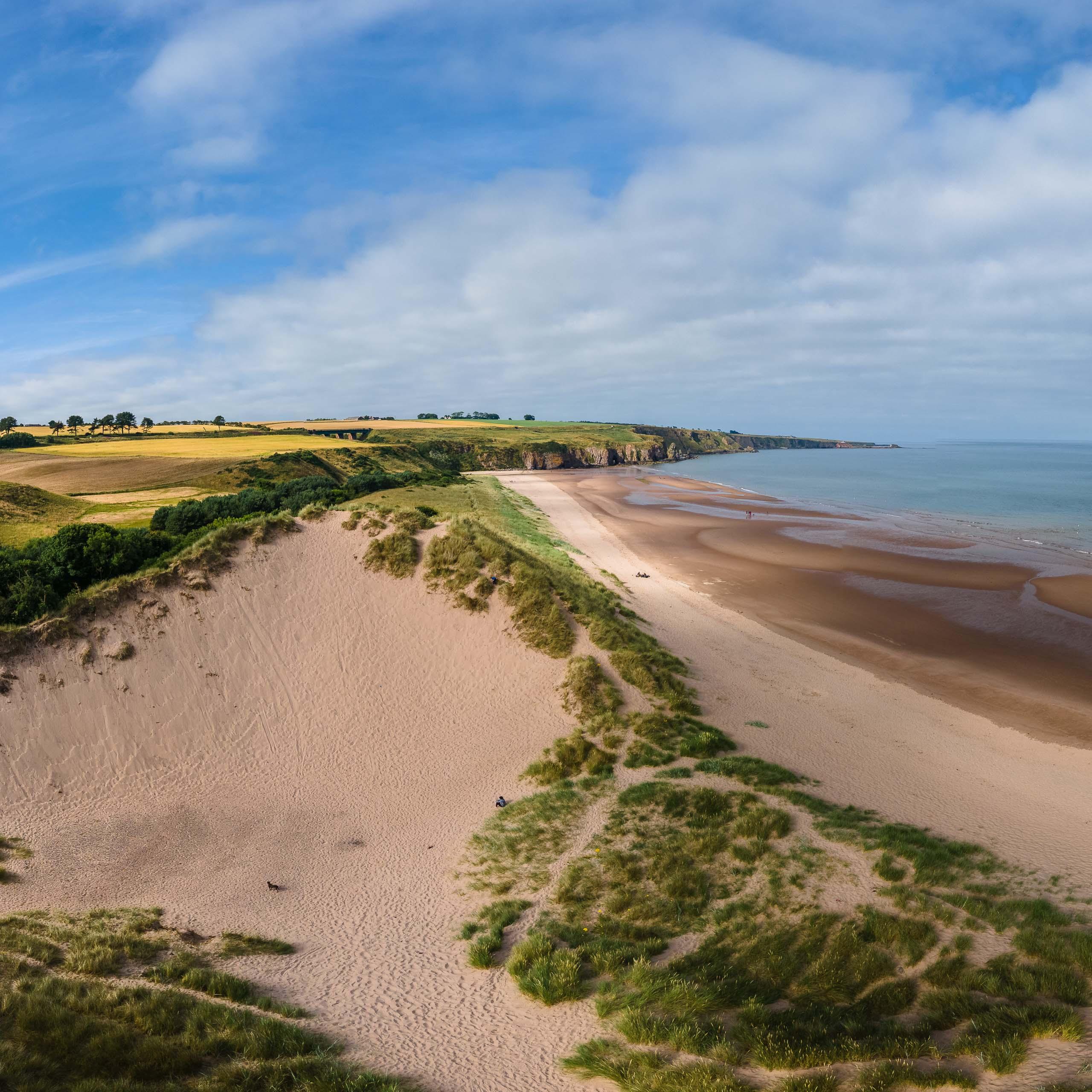 Large sand dunes at Lunan Bay beach
